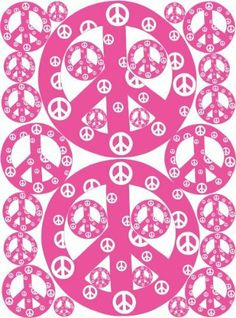 Peace Sign Wall Stickers Decals in Pink with White by Presto Wall Decals. $23.99. No paint, No tools, and No wallpaper paste necessary. These Peace Sign Decals are Removable, repositionable, reusable, Made in USA. Instructions and helpful design tips come with every wall sticker set order. Quick and easy peel and stick application, decorate any children's room in minutes. 28 individualy cut out peel and stick Pink with white Peace Sign Wall Stickers on a 17.3in by 23in panel....