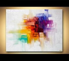 Original Contemporary modern Abstract Painting On Canvas Colorful Palette Knife by Osnat 40x30. $499.00, via Etsy.