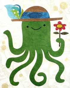 Adorable octopus in a lovely hat Sea Nursery, Animal Art Projects, Fun Illustration, Sea Art, Kids Prints, Whimsical Art, Pretty Pictures, Fine Art Paper, Cute Art