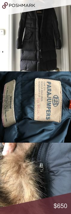 """Parajumpers down coat PJS slim fit down jacket. """"20-Den Evolution"""" size medium. Bought this two seasons ago, classic style. Perfect flawless condition, very clean. Comes with extra buttons and extra patch. Roll away hood with detachable fur trim. All questions welcome. Parajumpers Jackets & Coats Puffers"""