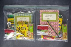 """Travel on airplanes... make activity & snack pack! """"Once we are seated on the plane, I give them each their bag and they can just tuck it into the seat back pocket.  Then when they need a snack or something to do, they can just reach for their bag.  It saves moms and dads from having to dig through carry-ons during the flight."""""""