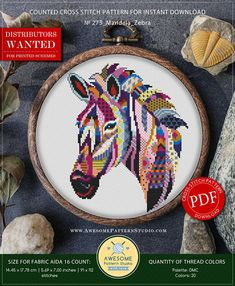 This is modern cross-stitch pattern of Mandala Zebra for instant download. You will get 7-pages PDF file, which includes: - main picture for your reference; - colorful scheme for cross-stitch; - list of DMC thread colors (instruction and key section); - list of calculated thread