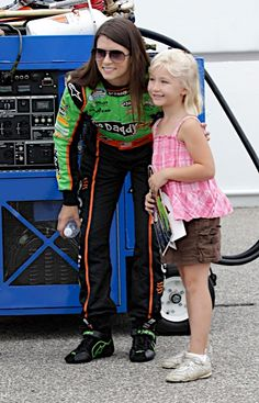 Danica Patrick with an admirer at New Hampshire Motor Speedway.