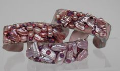 These are cuff bracelets in pink!, pink pearls, pink Swarovski crystals and of course painted pink