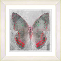 Dusk Butterfly - Red by Zhee Singer Framed Fine Art Giclee Painting Print