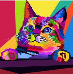 Gatos Vector, Vintage Pop Art, Pop Art Illustration, Pop Art Portraits, Australian Shepherd Dogs, Colorful Animals, Modern Wall Art, Cool Cats, Cat Art