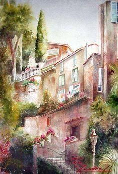 Lago di Bracciano Highrise - Watercolor of Italy Rita Zaudke