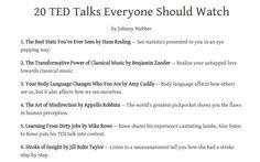 20 TED talks. - Imgur