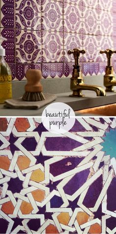 Beautiful Purple Moroccan Tiles - Moroccan tiles have been used for thousands of years in Morocco, France and Spain. Each tile is traditionally handcrafted by artisans using local materials. Tile making is considered an art in itself. The art is transmitted from generation to generation by maâlems (master craftsmen). A long training starts at childhood in order to master exceptional skills.