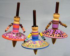 3 Toy Spinning Tops - Dancing Ballerina Folk Dolls - Handmade Spin Top by Joshua Andra