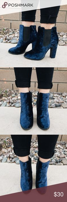 KIMCHI BLUE VELVET BOOTIES Heeled bootie. Lightly used. In great condition.  •WILL SHIP WITHIN 24 Hours ✨ Kimchi Blue Shoes Ankle Boots & Booties