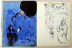Marc Chagall, Bible. Verve, Vol. VIII, N. 33 et 34. Paris, Verve, 1956. Ce double numéro est consacré à la reproduction intégrale en héliogravure des 105 planches gravées à l'eau-forte par Marc Chagall, entre 1930 et 1955, pour l'illustration de la Bible. L'artiste a composé spécialement pour la présent ouvrage 16 lithographies en couleurs et 12 en noir, ainsi que la couverture et la page de titre