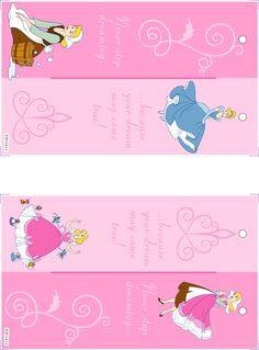 Disney printable bookmarks ((Image only. Link was messed up last time I checked. Disney Princess Party, Cinderella Party, Disney Theme, Princess Birthday Invitations, Birthday Invitation Templates, Disney Diy, Disney Crafts, Printable Crafts, Printable Bookmarks