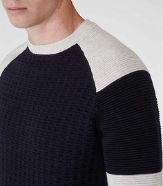 Mens Navy/grey Colour Block Textured Jumper - Reiss Jimmy