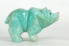 Authentic Native American Bear Fetish of turquoise by Navajo Albert Livingston