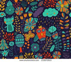 Vector seamless pattern, doodling design. Hand draw flowers and leafs. Kids illustration, cute background. Color doodle background - stock vector