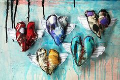Fanciful fabric--Winged hearts by Alisa Burke.