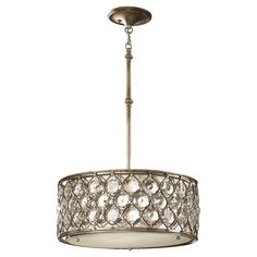 F2568/3BUS,3 - Light Shade Pendant,Burnished Silver