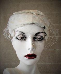 Vintage Hat 1960's White Veiled Hat Caplette by CAOLEiheartvintage