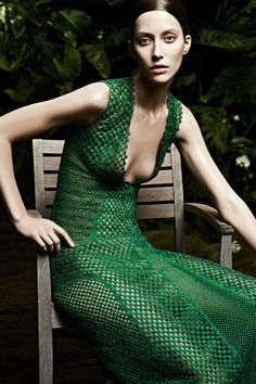 mode suisse : robe verte, Akris S/S 2013, by Karim Sadli