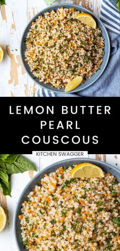 This lemon butter pearl couscous is a really simple recipe that tastes like a flavorful chewy pasta and serves as the perfect side to any summer grilling recipe. Our couscous recipe is made with butter, plenty of fresh lemon juice, and fresh chopped basil. It's super refreshing, light, and is a real crowdpleaser. Potato Side Dishes, Healthy Side Dishes, Vegetable Side Dishes, Side Dish Recipes, Pork Recipes, Healthy Sides, Summer Grilling Recipes, Summer Recipes, Pearl Couscous Recipes