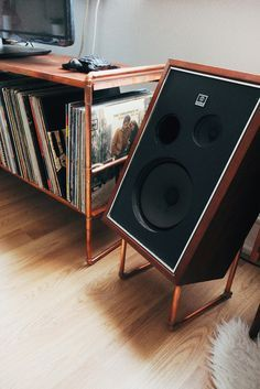 Soldered Copper Framework With Teak Stained Pine Shelves Matching Laid Back Speaker Stands