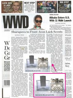 @WWD has the scoop on International tennis sensation Maria Sharapova as the face of the new Avon Luck fragrances for Him and Her!