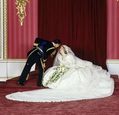 Prince Charles and Princess Diana after their wedding ceremony at the Throne Room at Buckingham Palace, 1981