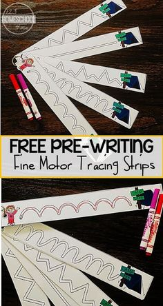 FREE Camping Tracing Strips for Fine Motor Skills - these free printable pre writing strips are perfect to help toddler, preschool, and kindergarten age kids strengthen their muscles so they are ready to write letters. These handwritting worksheest are pe Preschool Writing, Writing Activities, Preschool Crafts, Preschool Camping Theme, Preschool Centers, Motor Skills Activities, Toddler Learning Activities, Toddler Preschool, Fine Motor Activities For Kids