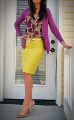Apparel fashion clothing outfit style women beautiful yellow skirt office purple jacket blazer heels perfect