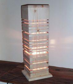 Modern wooden lamp. Original contemporary lighting. Bedside lamp. Desktop lamp.