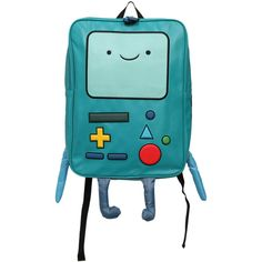 Adventure Time BMO Backpack | Hot Topic ($5.25) ❤ liked on Polyvore featuring bags, backpacks, accessories, adventure time, backpack, blue backpack, blue bag, knapsack bags, backpacks bags and rucksack bag