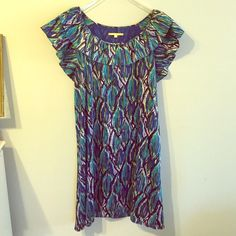 Multicolor Patterned GIANNI Summer Dress Multicolor Patterned GIANNI Summer Dress. Gorgeous knee length summer dress size medium with cap sleeves in perfect condition Gianni Bini Dresses Midi