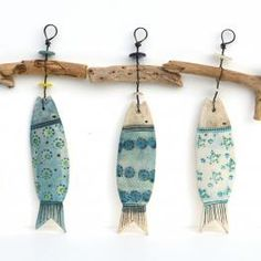 ceramic fish and driftwood hangers - click to view