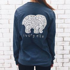 6 Color New 2016 Summer Ivory Ella T-shirt Women Tops Tee Print Animal Elephant T Shirt Loose Full Long Sleeve Tops Casual T Shirts, Cute Shirts, Long Sleeve Tops, Long Sleeve Shirts, Bae, Look Cool, Paisley Print, Paisley Pattern, Cute Outfits