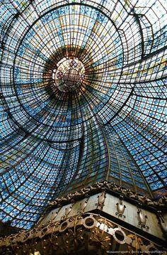 opticoverload: This elaborate stained-glass cupola dome inside Magasins du Printemps, Paris, France is located above the main restaurant in the store. Installed in it is composed of individual pieces of stained glass. Paris France, Oh Paris, Paris Travel, France Travel, Travel Europe, Beautiful Architecture, Art And Architecture, The Places Youll Go, Places To See