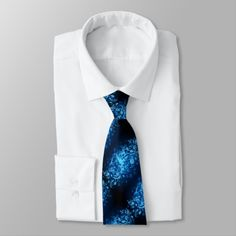 Blue Glow Music Notes Pattern Tie 2