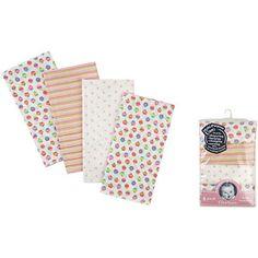Gerber Girl Prefold Diaper Burp Cloths, Prints, 4 count $7