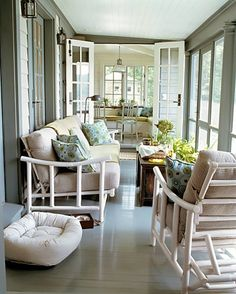 I have a space like this that leads to my indoor kitchen. I really like the peaceful colors and flow...and of course the french doors would be ideal. Where's my DIY mallet!