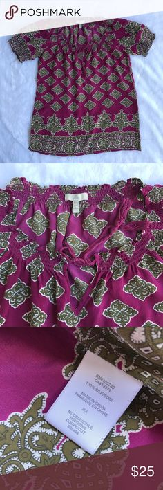 Joie 100% Silk Pink Blouse In great condition Size XS Pink/purple-ish color Joie Tops Blouses