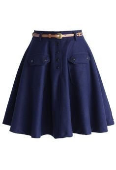 Belted Wool Blend A-line Skirt in Navy
