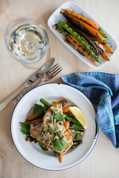 Marinated Swordfish With Grilled Carrots, Asparagus and Eggplant