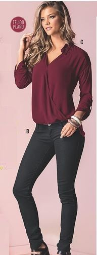 Blusa manga larga color vino, tallas de la XS a la XL $ 57.900 Jean Skiny negro, tallas de la 4 a la 14 $ 71.900 https://www.facebook.com/distribuidores.de.ropa/photos/a.633427376742428.1073741825.633280146757151/783178338433997/?type=1&theater