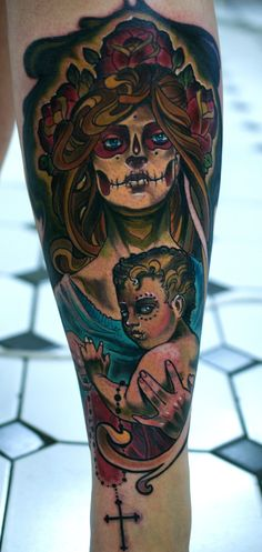 Mother Son Tattoos | mother and son dia de los muertos by ~tattooneos on deviantART