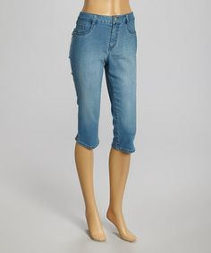 Love this Blue Stone Wash Capri Jeans by d. jeans on #zulily! #zulilyfinds