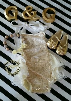 39267b5b7a0 Gold Sequin Baby Rompers Cute Gold and by GlittersandGoldShop
