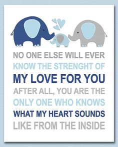 Blue navy and grey elephant nursery Art Print 8x10 by SednaPrints, $13.50