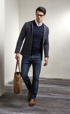 gray tweed jacket. blue cashmere sweater. white oxford. jeans. light brown brogues. leather messenger bag. clean. crisp. casual. style.                                                                                                                                                                                 More