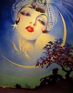 vintage art deco moon