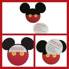 Mickey Mouse handmade invitations-set of 10 by TimelessInvites on Etsy